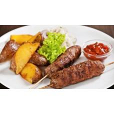 Люля кебаб из свинины-говядины с овощами